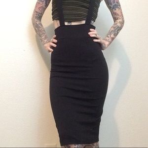 Black high waisted suspender pinup pencil skirt xs